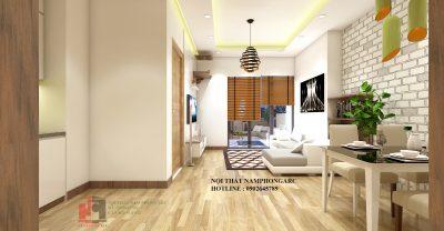 thiết kế nội thất căn hộ 59,2 m2 tòa c kim văn kim lũ