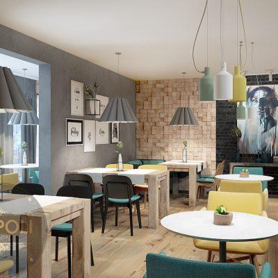 Thiết kế quán caffee ăn sáng đẹp phong cách