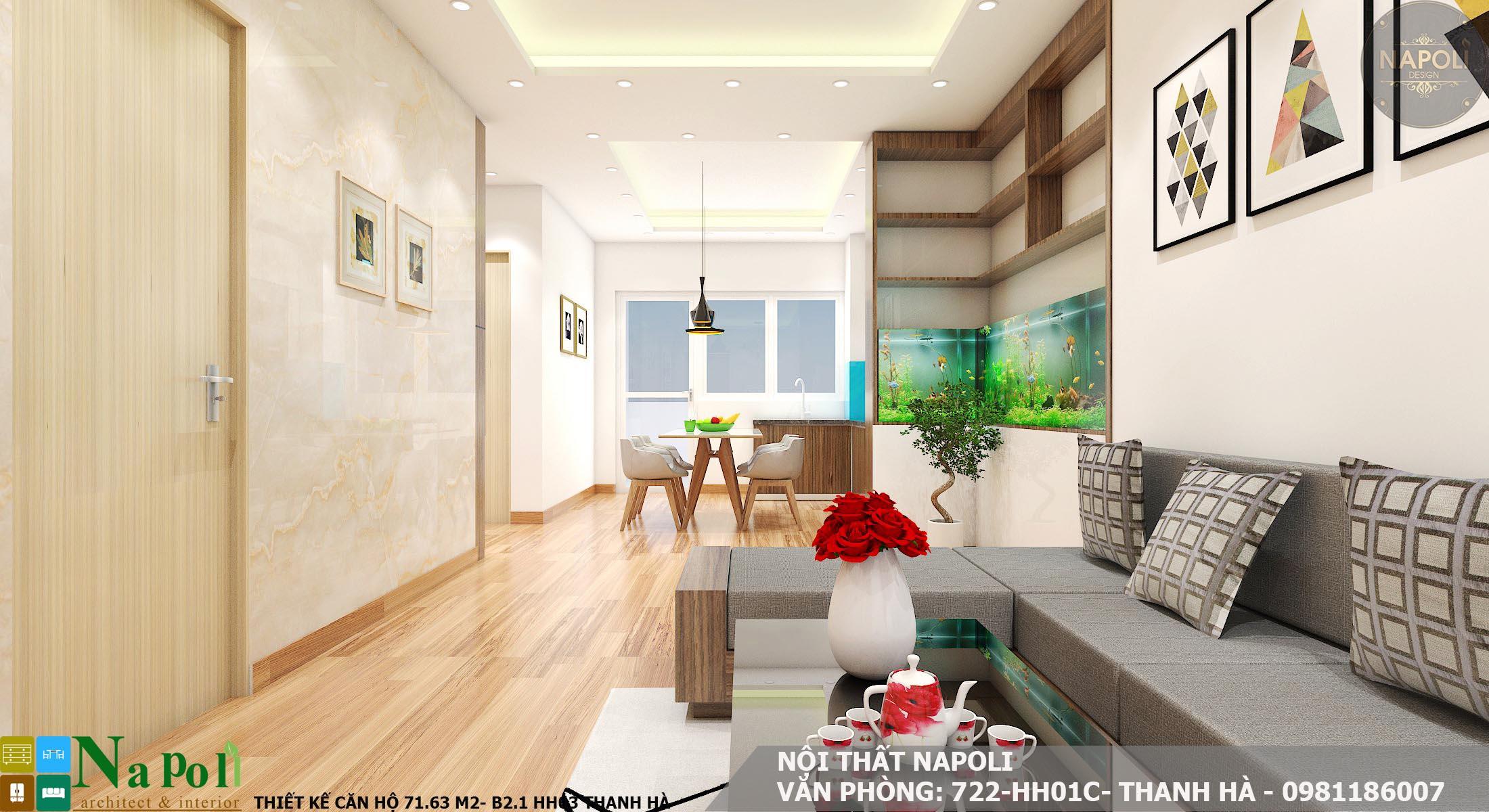 thiết kế nội thất căn hộ 71 m2- chung cư thanh hà