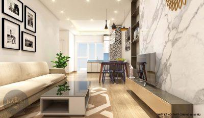 Nội thất căn 10-68.49 m2 chung cư b2.1 hh02 thanh hà