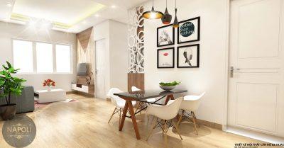 Nội thất căn 26-63.19 m2 chung cư b2.1 hh02 thanh hà